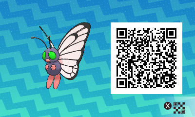 Pokemon Sun And Moon Shiny Male Butterfree Qr Code
